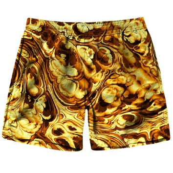 Gold Abstract Painting Shorts