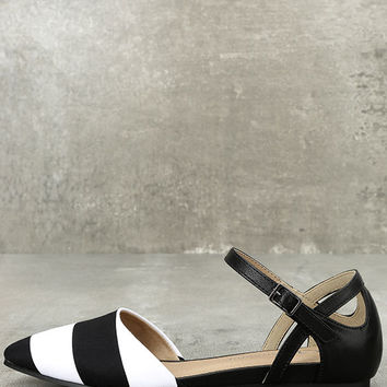 CL by Laundry Helena Black and White Ankle Strap Flats