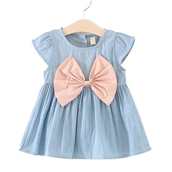 2017 Baby Sleeseless Girl Dress Children Kids Baby Denim Dresses One Piece Baby Summer Clothing For School Casual Wear Clothes G