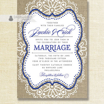 "Lace Burlap Wedding Invitation Shabby Chic Royal Blue Navy Rustic Doily Linen 5x7"" Printable DIY Digital or Printed - Jackie Style"