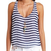 SHEER BOW-BACK STRIPED TANK TOP