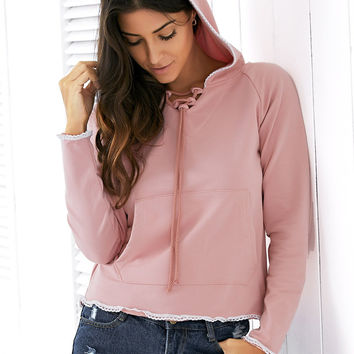 Light Pink Raglan Sleeve Lace Up Hoodie