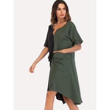 Two Tone Hanky Hem Dress Army Green