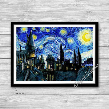 Hogwarts Starry Night Print, Van Gogh, Reproduction of Vincent Van Gogh Starry Night, Hogwarts Castle Art Print, Harry Potter room decor