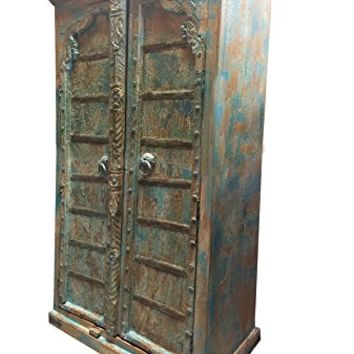 Antique Arched Door Cabinet, India Furniture, Blue Distressed Armoire, Iron Nailed, Old World Charm Resort Decor