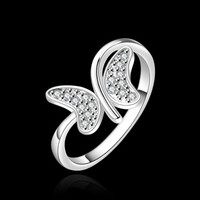 New Women 925 Sterling Silver Plated Fashion Butterfly Band Solid Ring Jewelry 8