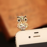 MagicPieces Cute Small Owl Plugy for iPhone White Dust Proof Plugy Dust Plug 3.5mm Headphone Jack Plug for iPhone Samsung Blackberry iPad HTC