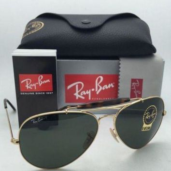 Kalete New RAY-BAN Sunglasses OUTDOORSMAN II RB 3029 181 Aviator Gold Frame w/G15 Green