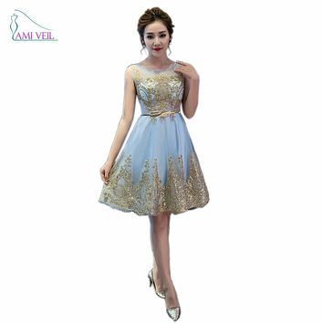 Blue Red Gold Sparkly Sequin Appliques Short Prom Party Dresses Vestido De Festa Formal Bride Cocktail Gown Belt Robe SoireeGT51