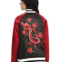 Disney Mulan Mushu Black & Red Girls Satin Souvenir Jacket