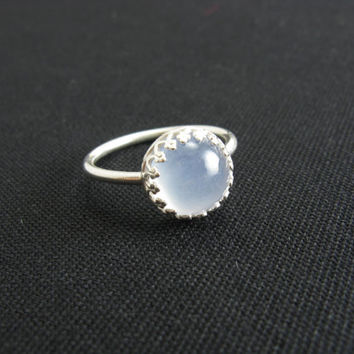 Sterling Silver Chalcedony Ring Sterling Silver Gemstone Ring Lavender Blue Stone Ring Size 8