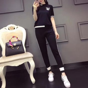 """Gucci"" Women Casual Fashion Multicolor Embroidery Cat Head Short Sleeve Trousers Knit Set Two-Piece Sportswear"
