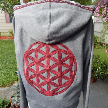 Upcycled Zip Up Hoodie Gray Flower of Life Sacred Geometry Womens Size L Hippie clothes, boho chic, hoodie, recycled hoodie,hoody,