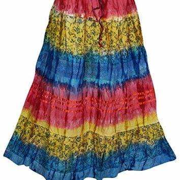 Mogul Interior Womens Boho Casual Gypsy Tie Dye Maxi Skirt S/M (Blue,Red): Amazon.ca: Clothing & Accessories