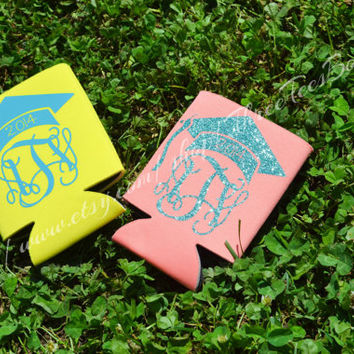 Monogram Class of 2014 Koozie Glitter Monogram Graduation Cap Coozie Personalized Can Koozie Cozy Coozie Preppy Graduation Monogram