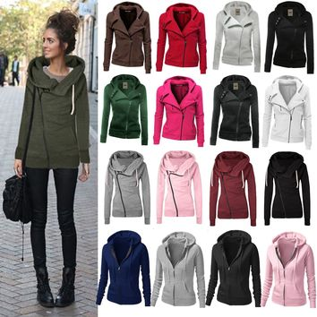 Womens Casual Zipper Hoodies Hooded Sweater Pullover Sweatshirt Coat Jacket Tops