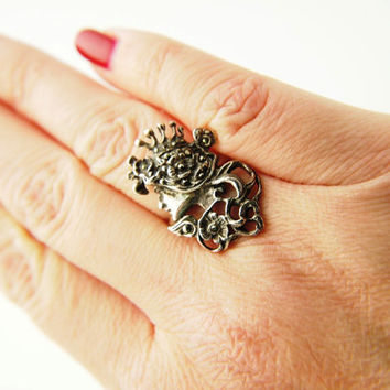 Maiden Marcasite Ring - Sterling Silver - Vintage
