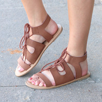 MIA: Delphine Lace Up Sandals {Dk. Brown}