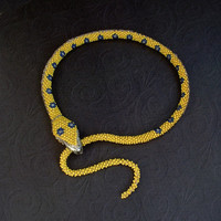 Sale Art Deco SNAKE Necklace Neon Yellow GLASS Beadwork Prisoner of War Cottage Industry Hinged TEETH Closure!