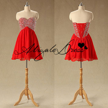 Short Red Chiffon Homecoming Dress With Sequins,Cute Sweetheart Women Gowns For Holiday Party,Wedding Party Dress,Chic Cheap Prom Dress