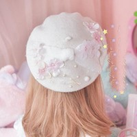 1pc Girls Lolita Wool Blend Beret Floral Pearls Decoration Hat Winter Gift