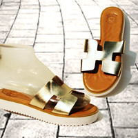 Greek Gold leather sandals, women sandals, chunky sole sandals, authentic handmade sandals, women shoes, stylish white solid block sole