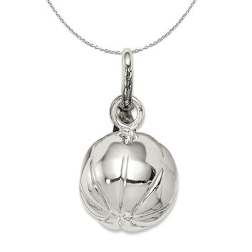 Sterling Silver 12mm Polished 3D Basketball Charm Necklace
