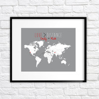 Love is Greater Than Distance - Long Distance Relationship Gift - 8x10 Custom Map Art Print, Deployment, Military, Far Away, Missing You