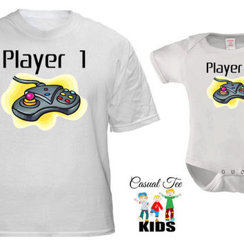 Player 1 and Player 2 Gamer Shirts Matching Father Baby Shirts