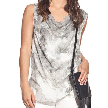Silk blouse colour grey with draped neck and tie-dye print