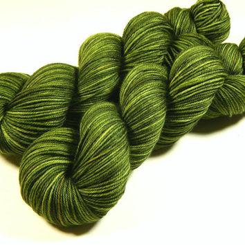 Hand Dyed Yarn - Sport Weight Superwash Merino Wool Yarn - Moss Tonal - Knitting Yarn, Sock Yarn, Wool Yarn, Olive Green