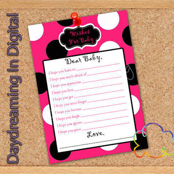 Custom Personalized 5x7 Baby Shower Wish Card Wishes for baby Digital Card PINK BLACK