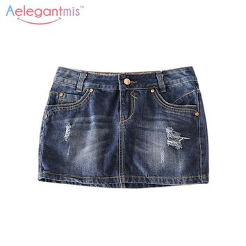 Special Offer Aelegantmis Classic Ripped Hole Denim Skirt Women 2017 Casual Summer Hot Mini Skirt Sexy Jeans Ladies