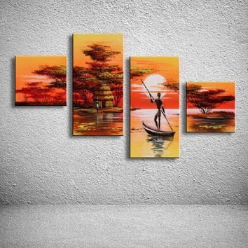 hand painted oil paintings on canvas African landscape home decoration Modern abstract Oil Painting wall  AR-001