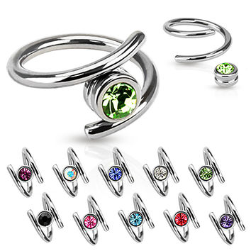 Twist with Single CZ 316L Surgical Steel 16ga Cartilage Earring Upper Ear Jewelry Lip Rings