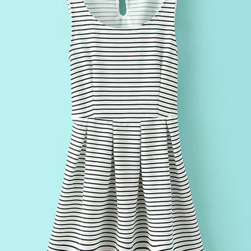 Color Block Stripe Key-Hole Skater Dress