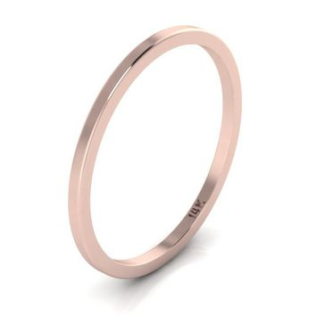 14K Rose Gold Plain Band