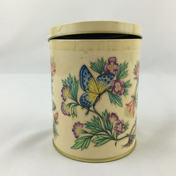 Vintage Daher Butterfly Flower Tin Small Decorative Storage Tin with Butterflies & Blooming Flowers Collectible Tin Canister Biscuit Tin
