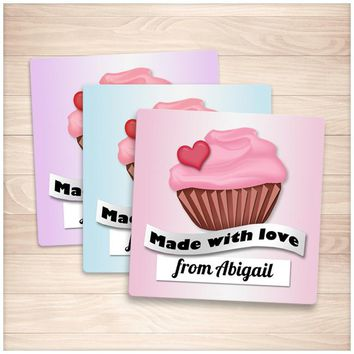 Personalized Cupcake 'Made with Love' Baking Stickers - Printable