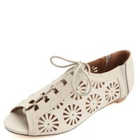 Laser-Cut Peep Toe Lace-Up Flats by Charlotte Russe - Off White