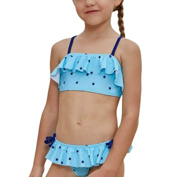 Little Stars Print Turquoise Little Girls Bikini