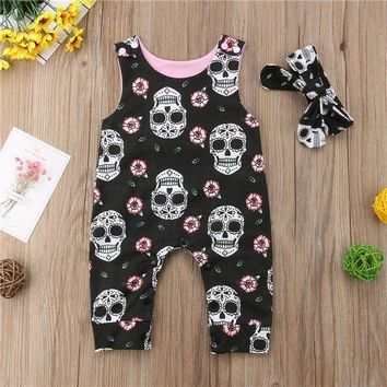 2Pcs Newborn Baby Boys Girls Sleeveless Cool Cotton Skull Romper 07b47a2acf13