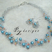 Sunset Beach Necklace & Earring Set - Wire Crochet, Blue Pearls, Pink and Yellow Crystals