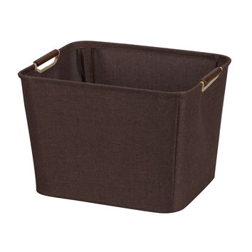 Hold N Storage Medium Tapered Bin With Wood Handles 601 Coffee