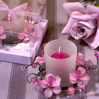 Opentip.com: Cassiani Collection 1205 Elegant Frosted Lavender Glass Flower Candle Holder