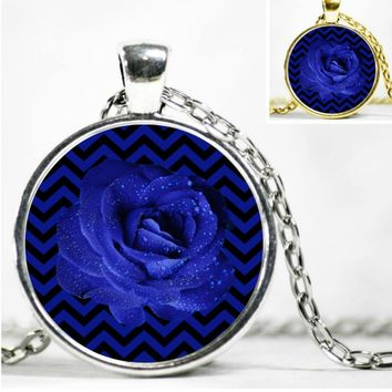 "Twin Peaks Jewelry Blue Rose Black Lodge Floor Return TV Series Pendant Necklace 22"" Chain"