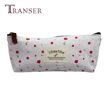 TRANSER Women Girls Fashion Zipper Handbag Vintage Flower Floral Pencil Pen Makeup Storage Bag Pouch Case Purse Canvas jn20