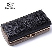 New Arrival Genuine Leather 3D Purse Women Crocodile Design Wallets High Quality Hasp and Zipper Long Organizer wallet