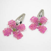 Pink Beaded Flower Barrettes - Girls Beaded Hair Clips