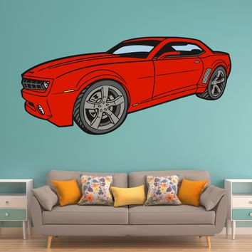 Red Chevy Camaro Race Car Wall Art Decal Sticker